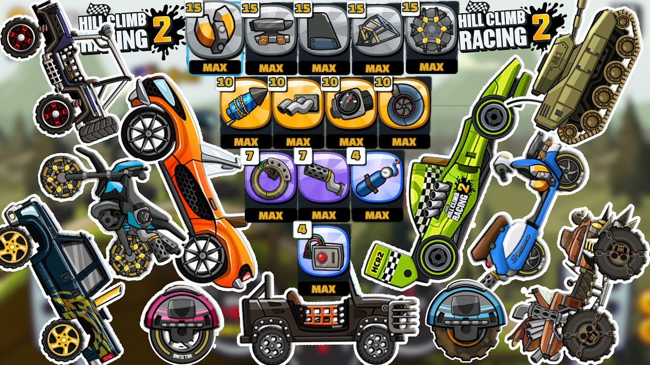 Hill Climb Racing 2 All Vehicles With MAX Tuning Parts - YouTube