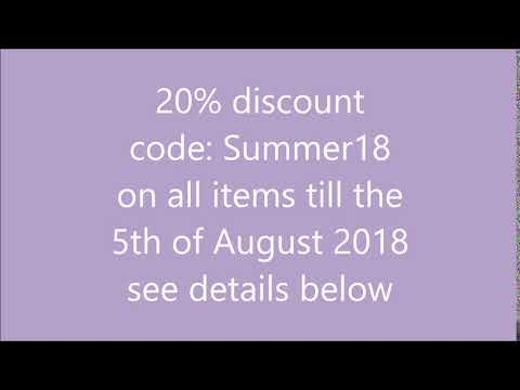 20% discount code till the 5th August 2018 in my shop
