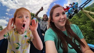 Adley Reviews Rollercoaster Rides!! funnest park ever with Mom and Dad!
