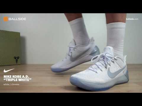Nike Kobe A D  Triple White on feet