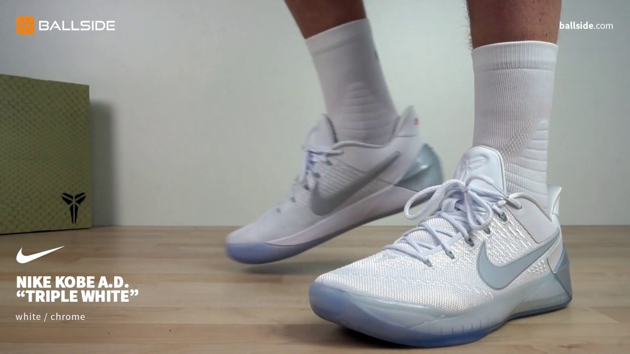 Nike Kobe A D Triple White On Feet Youtube