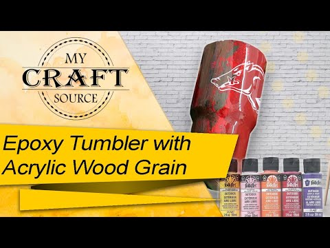 { Epoxy Tumbler with Wood Grain } Using Arcylic Paint and Satin