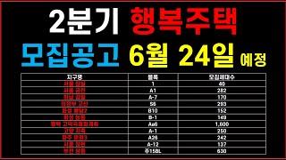 서울 등 행복주택 신규 모집공고 6월 24일 발표 예정…