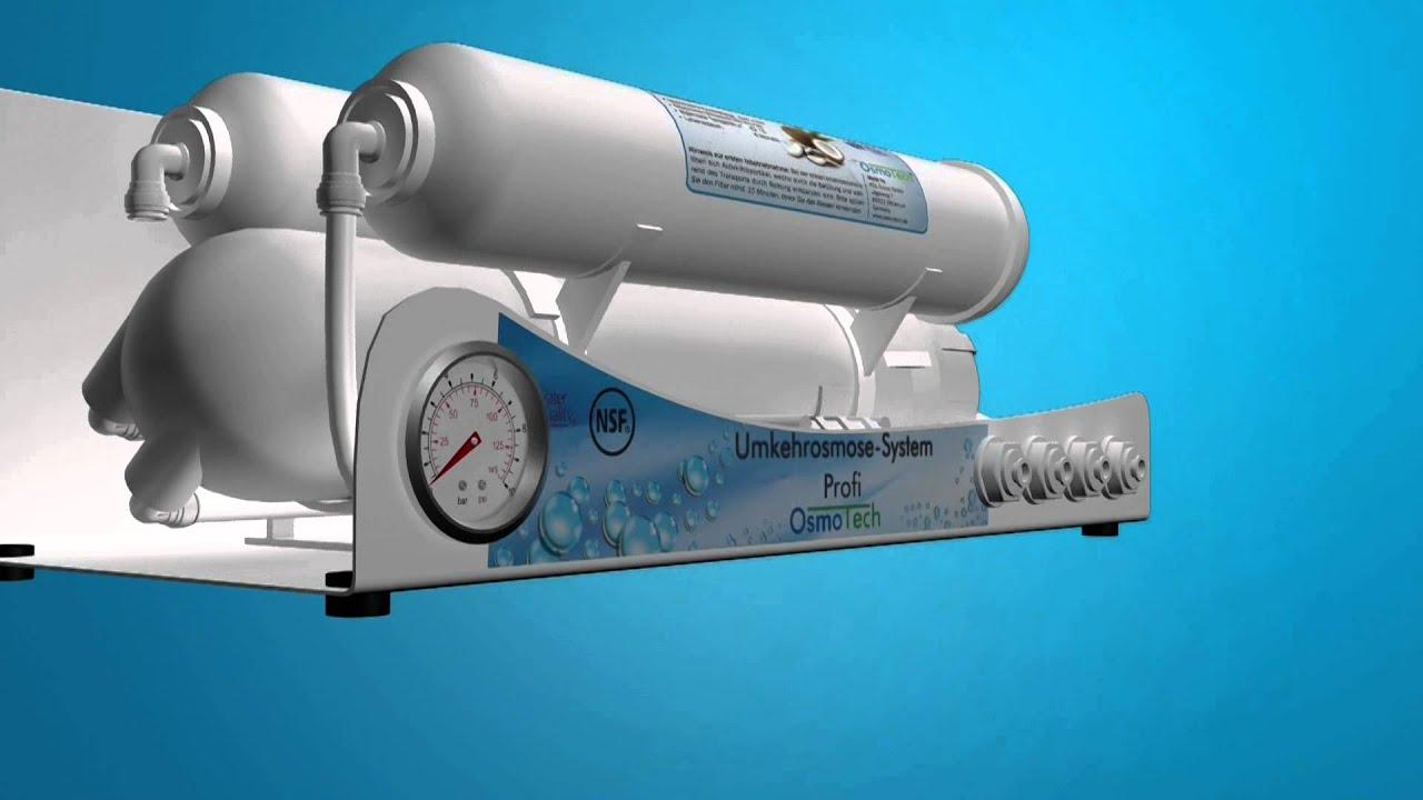 Umkehrosmose-Wasserfilter angeschlossen