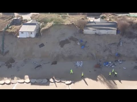 Shocking drone footage of homes falling off cliffs at Hemsby
