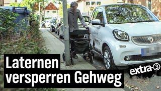 Realer Irrsinn: Straßenlaternen mitten auf Gehweg in Oberhausen