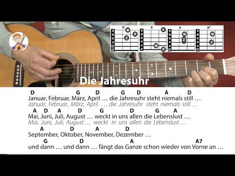 Die Jahresuhr - Rolf Zuckowski,  Jahreszeitenlied, Cover, Akkorde & Text für Gitarre zum Mitspielen
