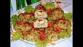 Зразы мясные с начинкой из картофеля.помидора и болгарского перца.