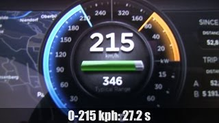 Tesla Model S P85 acceleration 0-215 kph on German Autobahn