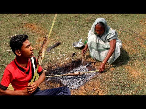 Primitive Technology | Grilled FISH BBQ Prepared by Grandmother | Village Food Recipe