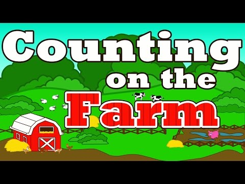 "Counting on the Farm - Counting Farm Animals - ""Farmer in the Dell"" Nursery Rhymes Preschool Songs"