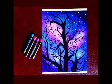 How to draw Beautiful Snowy Night Scenery Oil Pastel/ Watercolor painting for beginners Step by Step