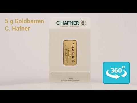 5 Gramm Goldbarren von C. Hafner in 360° Ansicht - YouTube