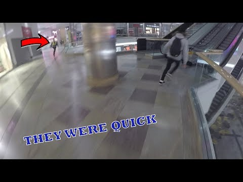 SECURITY CHASE AROUND CLOSED SHOPPING MALL!