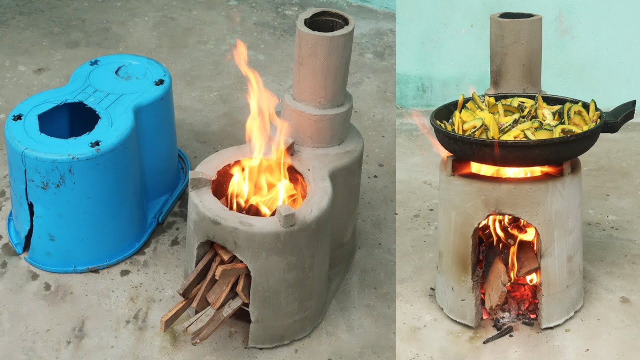 DIY Smokeless Stove Cement From Plastic Containers   Great Wood Stove Idea