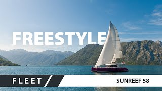 Luxury sailing yacht Sunreef 58 FREESTYLE cruising in Montenegro