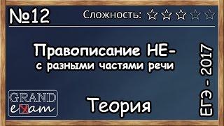 ЕГЭ 2017 №12 Русский язык. Слитное и раздельное написание НЕ в разных частях речи