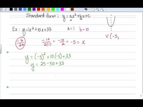Finding The Vertex From The Standard Form Of An Equation Youtube