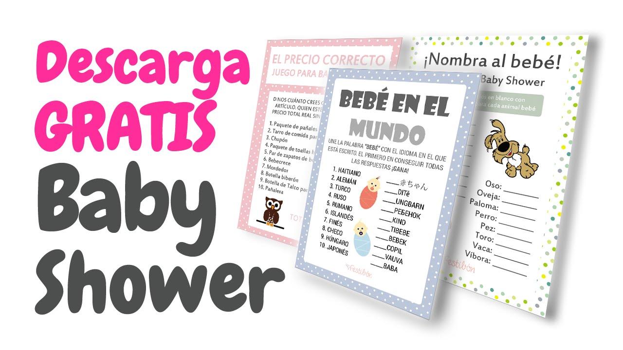 20 Tarjetas de Juegos para Baby Shower GRATIS para IMPRIMIR HD - YouTube