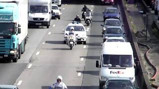 Paris Police Motorcycle Escort of Organ Transplant (Greffes) Vehicle