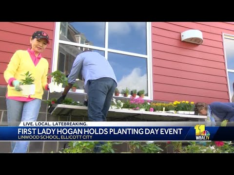 Linwood School students plant flowers with Maryland first lady Yumi Hogan