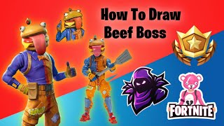 How to draw Bęef boss | How to draw the Durr Burger | Fortnite Characters