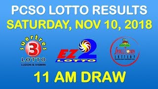 Lotto Result November 10 2018 11am Draw PCSO (EZ2, Suertres, STL results)