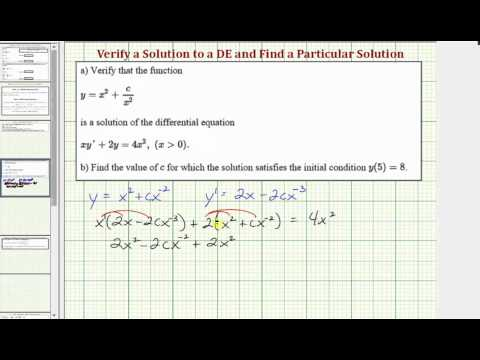 Ex 1: Verify a Solution to a Differential Equation, Find a Particular Solution