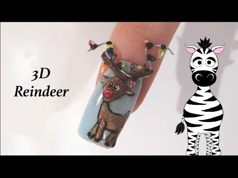 3D Reindeer with Lights on his Antlers Acrylic Nail Art Tutorial