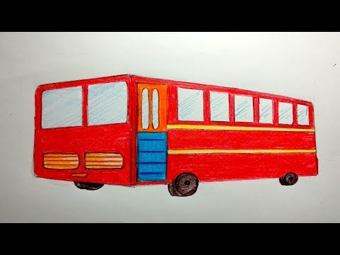 How to draw a bus step by step