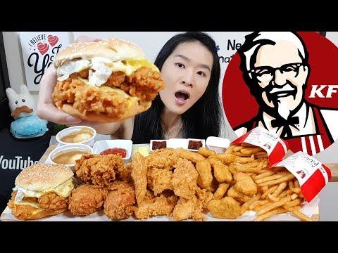 KFC CHEESY ZINGER STACKER BURGER! Dip N Share Bucket, Hot & Crispy Fried Chicken Mukbang Eating Show