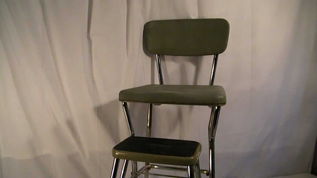 VINTAGE ANTIQUE RETRO GREEN COSCO KITCHEN STEP STOOL MAD MEN 1950s - YouTube : retro step stool chair - islam-shia.org