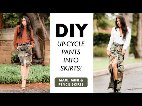 DIY: Turn CAMO Pants Into SKIRTS!! (Maxi, Mini + Pencil Skirts!) -By Orly Shani