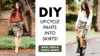 DIY: Up-Cycle CAMO Pants into SKIRTS!! (Maxi, Mini + Pencil Skirts!) -By Orly Shani