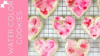 How To Make Pink and Gold DIY Watercolor Sugar Cookies // Lindsay Ann Bakes