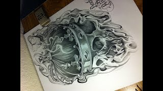 Skull Drawing 3 Skull/Crown Black and Gray Tattoo Style Art