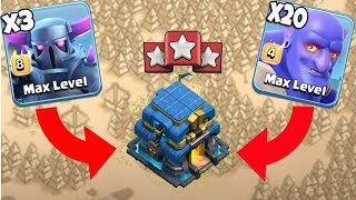 3 Max Pekka 20 Max Bowler  Destroy 3 Star War Attack TH12 Max Level | Best Max Pekka Army Th12