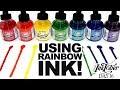 INKTOBER WITH RAINBOW INK! | Inktober Day 16 | India Ink and Dip Pens | Art Process Vlog | Angular