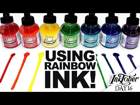 INKTOBER WITH RAINBOW INK! | Inktober Day 16 | India Ink and Dip Pens | Art Process Vlog | Angular