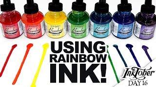 INKTOBER WITH RAINBOW INK!   Inktober Day 16   India Ink and Dip Pens   Art Process Vlog   Angular