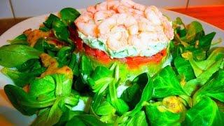 Очень вкусный салат Нежность с красной рыбой и авокадо