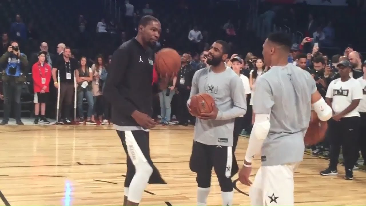 online store 87ccb 0f7fd Kevin Durant, Russell Westbrook, LAUGHING TOGETHER With Kyrie Irving | 2018  NBA All-Star Game