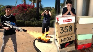 Destroying a Kids ONLY Pair of Shoes & Surprising Him w/ 10 NEW PAIRS!!