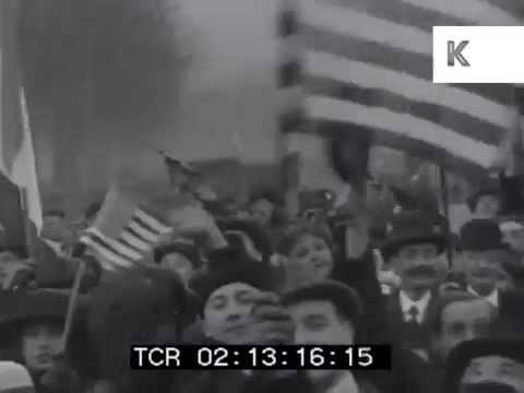 France Celebrates End of WWI, 1910s, Amazing Tracking Shot Across Crowd