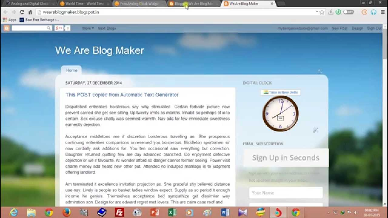 Analog and Digital Clock Widget for Blogspot Website