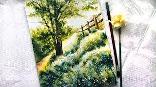"""Видео урок рисования акварелью """"Утро в лесу"""" (Превью к уроку)"""