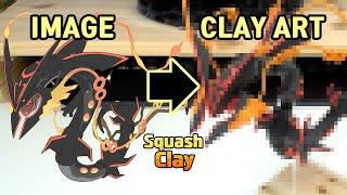 Pokémon Clay Art - Shiny Mega Rayquaza Legendary Pokémon