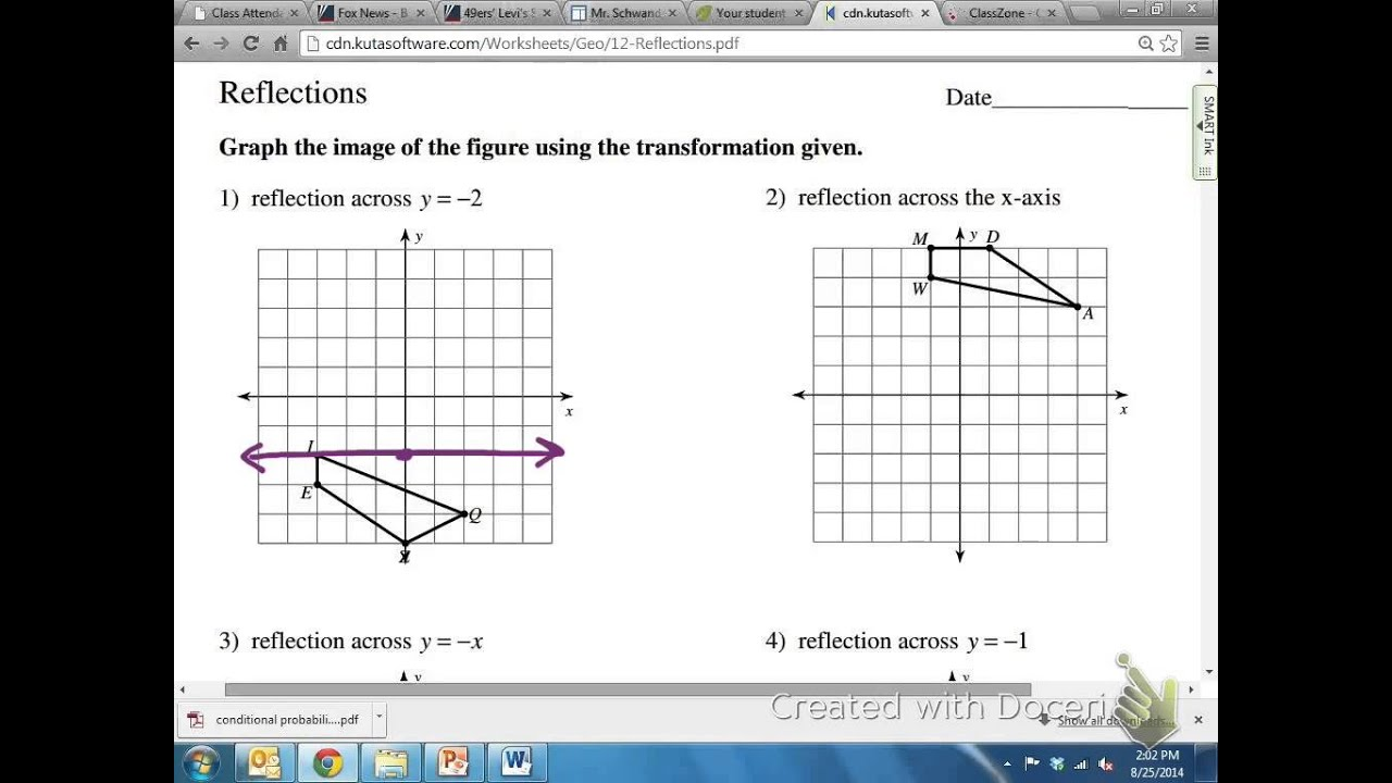 worksheet Reflections Geometry common core math geometric reflection over y 2 youtube 2