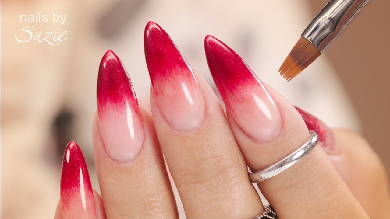 Red Ombre Nails Christmas.Ombre Nails Created With Gel Polish