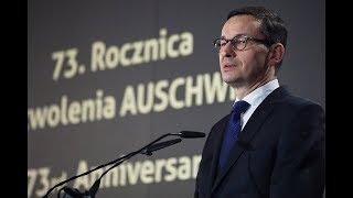 Mateusz Morawiecki na uroczystości 73. rocznicy wyzwolenia niemieckiego obozu Auschwitz